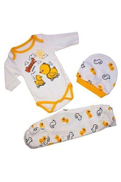 Bebek Beyaz Sarı Civciv Figürlü 3 Parça Zıbın Takım