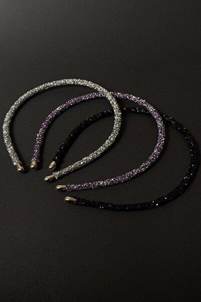 Gümüş, Mor ve Siyah Renk Kristal Kadın 3'lü Işıltılı Günlük Kullanıma Uygun Taç Seti