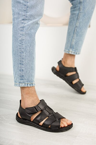 Erkek Siyah Hakiki Deri Sandalet Ayakkabı