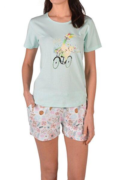 Yeşil Kadın Şortlu Pijama Takımı Kısa Kollu Cepli Baskılı Pamuk