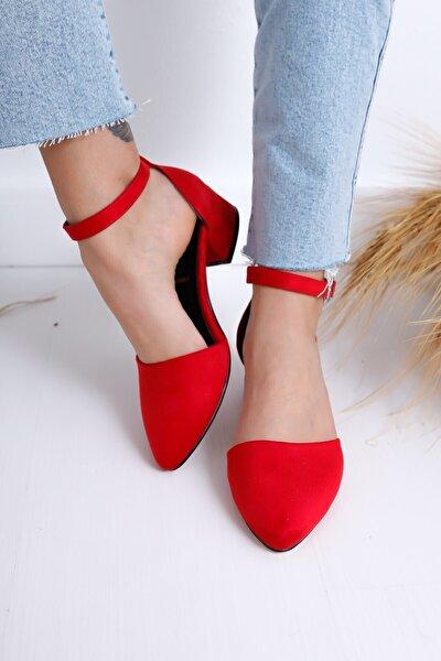 Kadın Kırmızı Süet Dolgu Topuk Ayakkabı