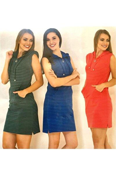 Lacos Örme Çizzgili Kapişonlu Elbise Cep Ve Bağcıklı 4049