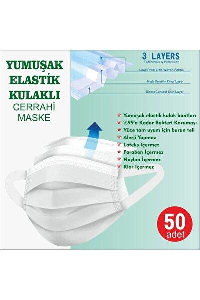 Yeşil Yumuşak Elastik Kulaklı Yeni Nesil Maske 50 Adet