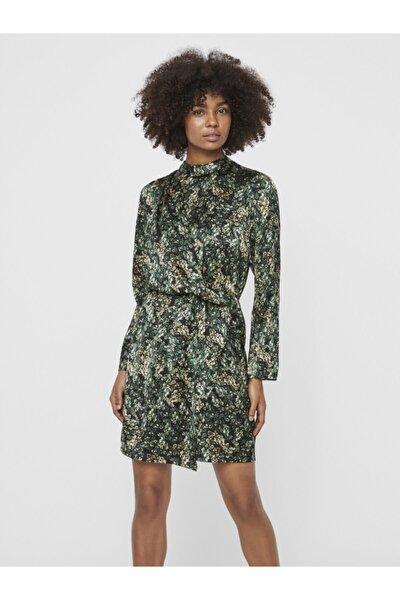 Kadın Dik Yaka Desenli Elbise