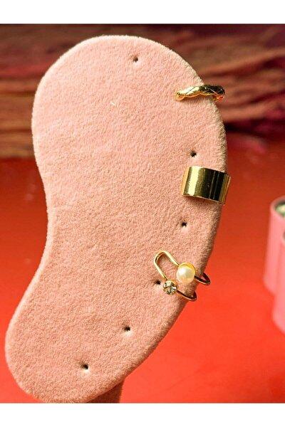 3 Parça Altın Kaplama Incili Kıkırdak Set - Ear Cuff Set