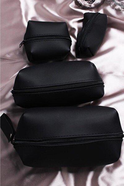 Kadın Siyah Makyaj Çanta Seti 4'lü