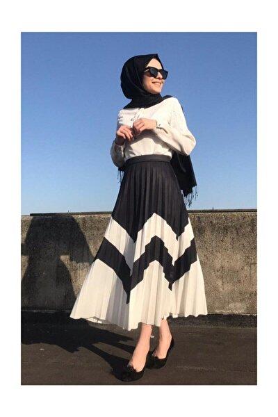 Kadın Zigzag Desen Siyah Beyaz Piliseli Uzun Etek