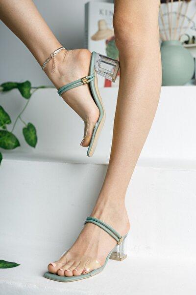 Kadın Yeşil Şeffaf Terlik Ve Sandalet Topuklu Ayakkabı