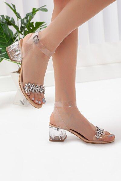 Kadın Nude Şeffaf Taşlı Kalın Topuklu Ayakkabı