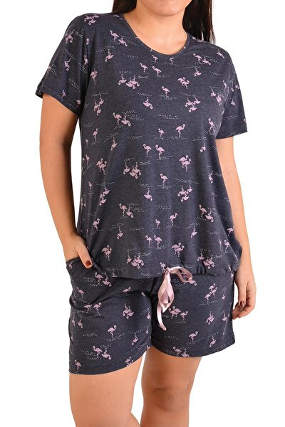 Lacivert Kadın Şortlu Pijama Takımı Kısa Kollu Büyük Beden Cepli