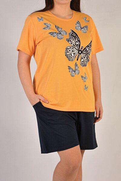 Sarı Kadın Şortlu Pijama Takımı Kısa Kollu Büyük Beden Cepli