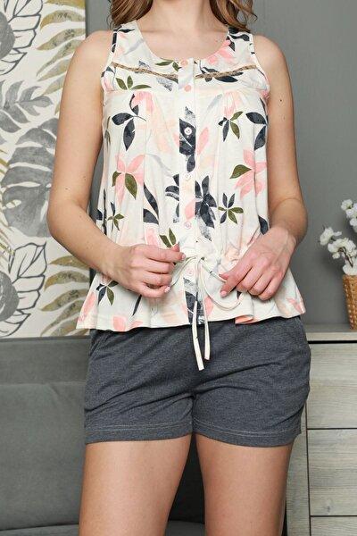 Füme Kadın Şortlu Pijama Takımı Kısa Kollu Cepli Pamuk