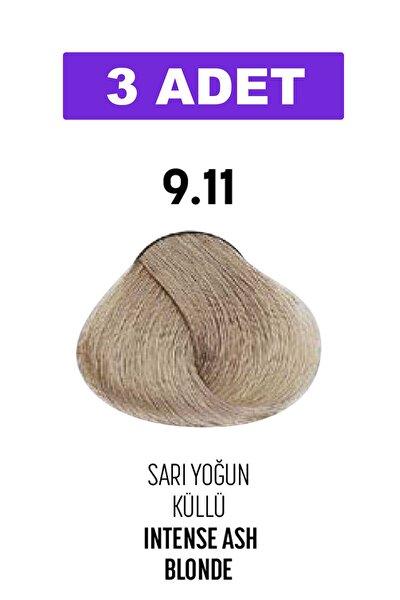 9.11 / Sarı Yoğun Küllü - Intense Ash Blonde / Glamlook Profes. Saç Boyası 3 Adet