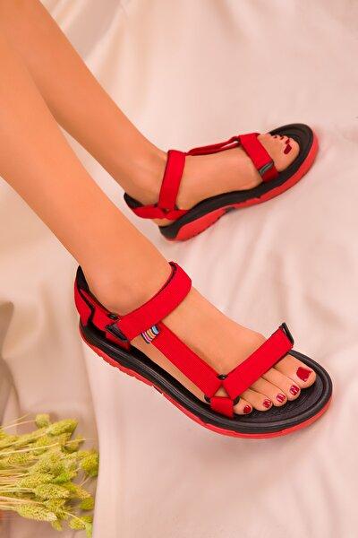 Siyah-Kırmızı Kadın Sandalet 16196