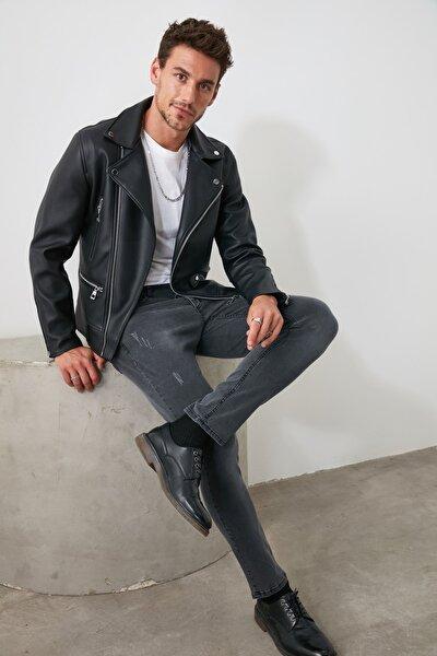 Gri Erkek Tırmık Yıpratmalı Skinny Jeans TMNAW20JE0253