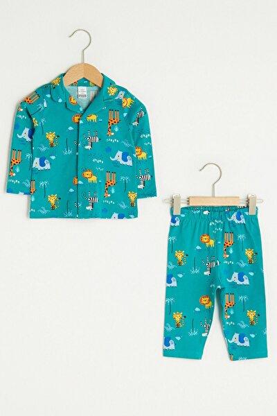 Erkek Bebek Canlı Yeşil Bask Lrg Pijama Takımı