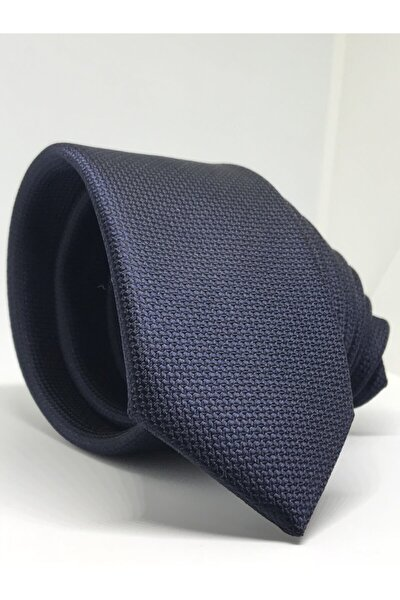 Lacivert Slim Fit Oxford Kuş Gözü Desen Kravat
