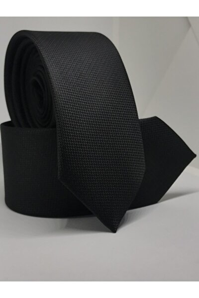 Siyah Renk Slim Fit Oxford Kuş Gözü Desen Kravat
