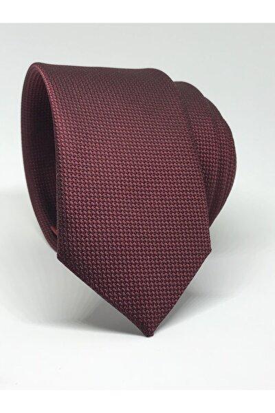 Bordo Renk Slim Fit Oxford Kuş Gözü Desen Kravat