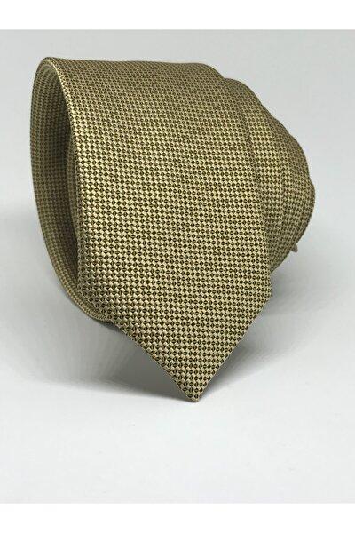 Gold Slim Fit Oxford Kuş Gözü Desen Kravat