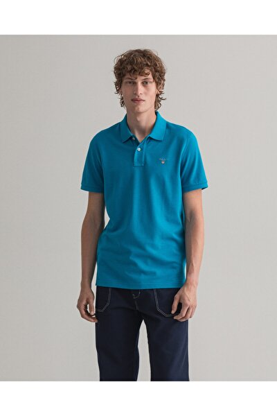 Erkek Mavi Kısa Kollu Regular Fit Polo Yaka T-shirt