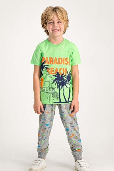 Paradise Beach Lime Erkek Çocuk Pijama Takımı
