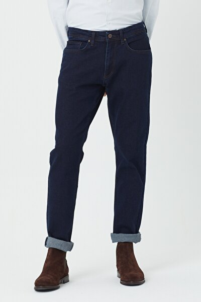 Erkek Koyu Mavi Regular Fit Essentials Jean