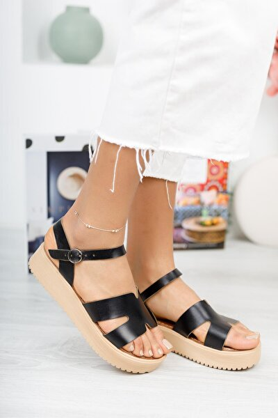 Hakiki Deri Kadın Dolgu Topuk Sandalet Mghelen02