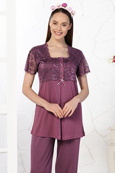 Kadın Mürdüm Dantelli Lohusa Pijama Takımı