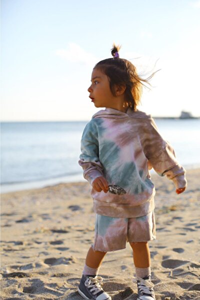 Çocuk Lina Batik Kapşonlu Şortlu Takım