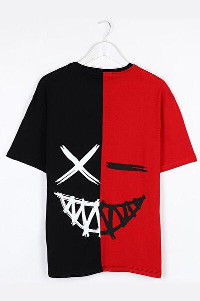 Kırmızı-siyah Sırt Baskılı Oversize Unisex Tshirt