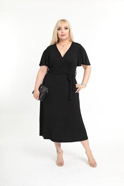 Kadın Siyah Kruvaze Yaka Büyük Beden Elbise