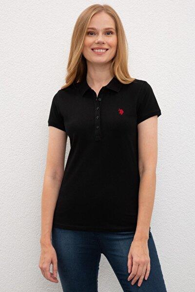 Kadın Siyah Polo Yaka T-shirt