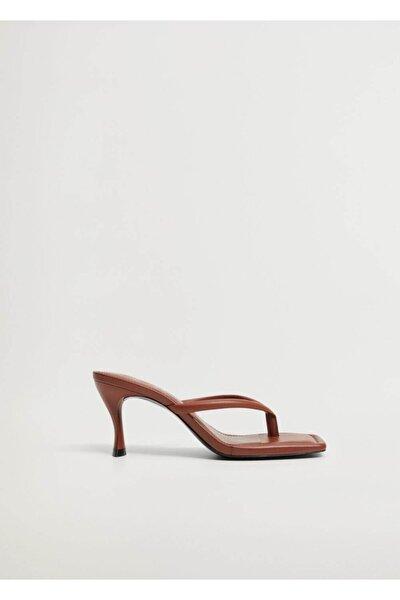 Kadın Turuncu Topuklu Deri Sandalet