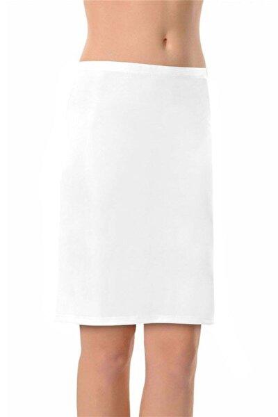 Kadın  Beyaz Kısa Dizüstü Jüpon Etek