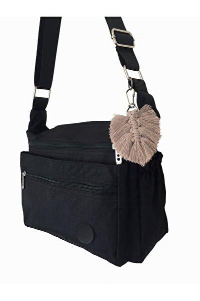 Kadın Siyah Klinkır Paraşüt Kumaş Çapraz Çanta 506