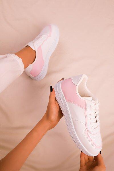 Beyaz-Pembe Kadın Sneaker 16223