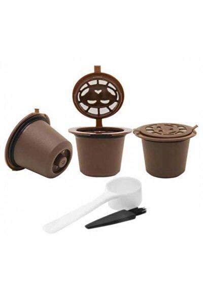 Tekrar Kullanılabilir Kahve Kapsülü Hazneleri , 3 Adet Hazne , Kepçe Ve Fırçası