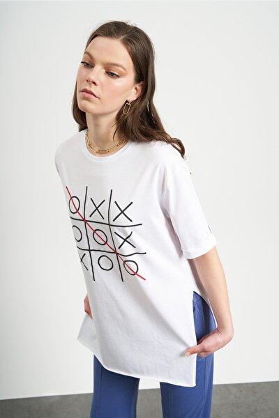 Kadın Beyaz Xox Baskılı  T-Shirt
