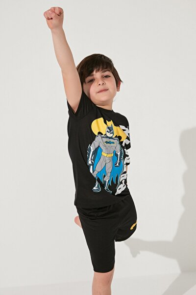 Erkek Çocuk Siyah Batman Baskılı Pijama Takımı