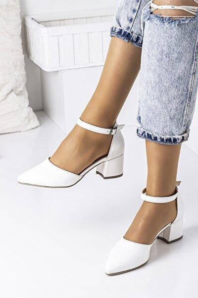 Bilekten Bağlamalı Bayan Topuklu Ayakkabı-beyaz