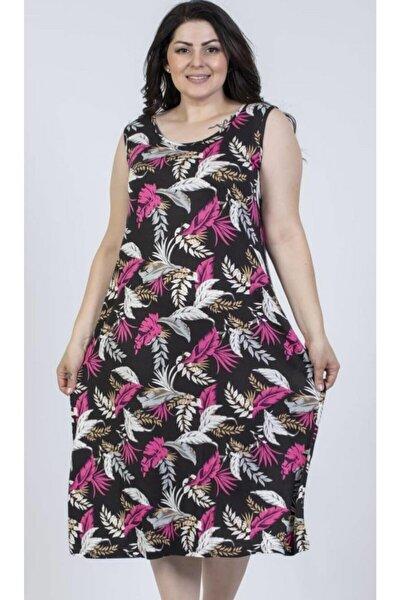 Kadın Pembe Yaprak Desenli Elbise