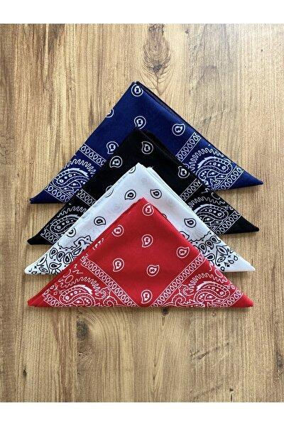 Unisex Siyah Kırmızı Lacivert Beyaz Etnik Desenli Pamuk Bandana  4 Adet