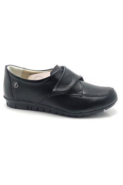 Kadın Anne Ayakkabı Hakiki Deri Astar Topuk Yastıklı Sistem Çırtlı Siyah