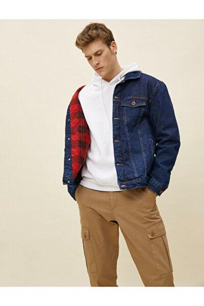 Erkek Indıgo Cep Detayli Jean Ceket