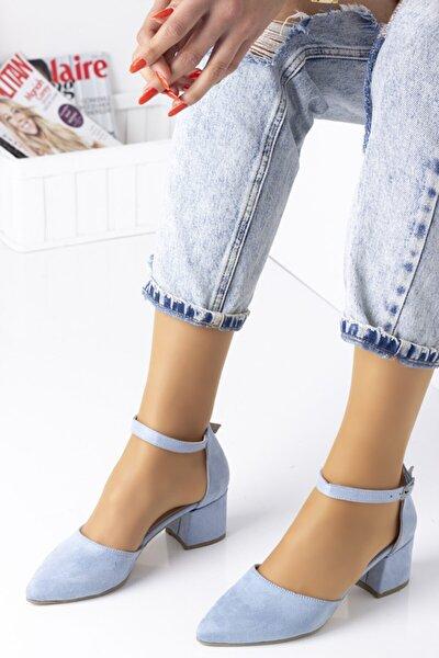 Bilekten Bağlamalı Bayan Topuklu Ayakkabı-s. Bebe Mavi