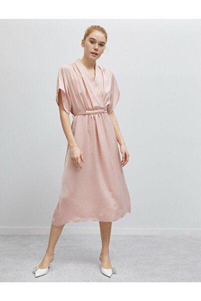 Kadın Pembe Kisa Kollu Beli Baglamali Elbise