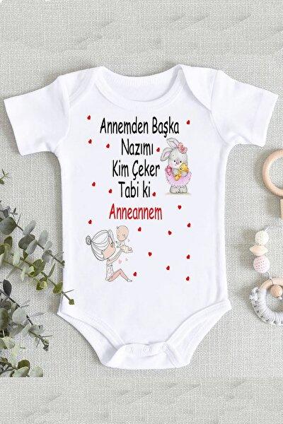 Kız Bebek Beyaz Anneanne Yazılı Baskı Zıbın