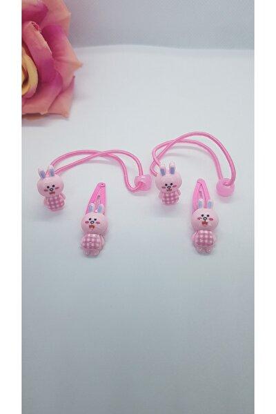 4'lü Tavşan Lı Çocuk Toka Seti