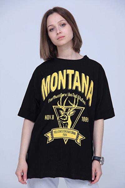 Kadın Siyah Montana Sarı Baskı Oversize Tshirt